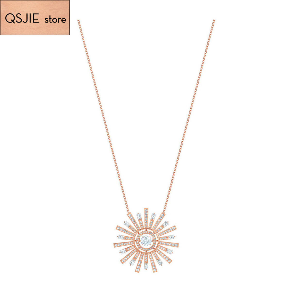 QSJIE High quality SWA. Fashionable, fresh and shiny crystal luxury jewelry solar cocktail Necklace Glamorous fashion jewelry
