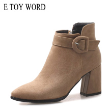 E TOY WORD 2019 Large Size Women Boots Fashion Autumn Woman Ankle Boots Pointed Toe High Heels Martin boots Winter Women Shoes недорого