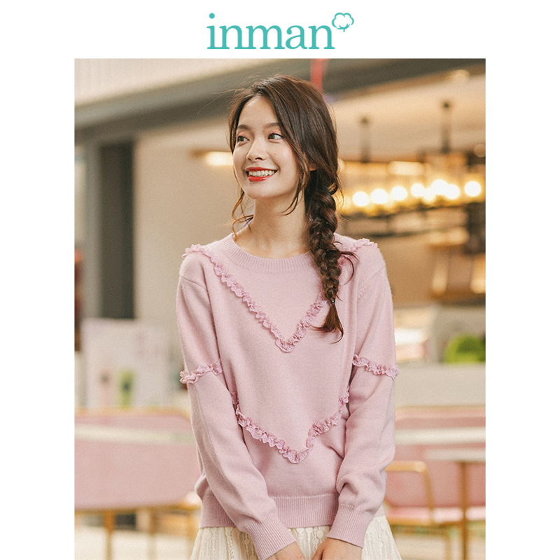 INMAN Spring Autumn O-neck Long Sleeve Lace Young Girl Elegant Pink Women Pullover
