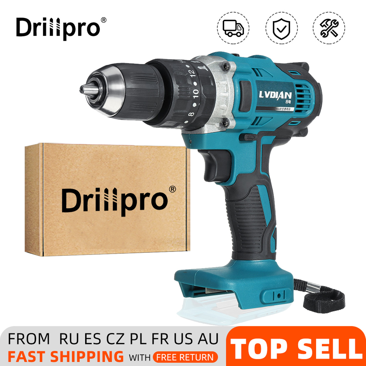 Drillpro 3 In 1 Electric Cordless Impact Drill 13mm 2-Speed Rechargable Electric Screwdriver For 18V Makita Battery