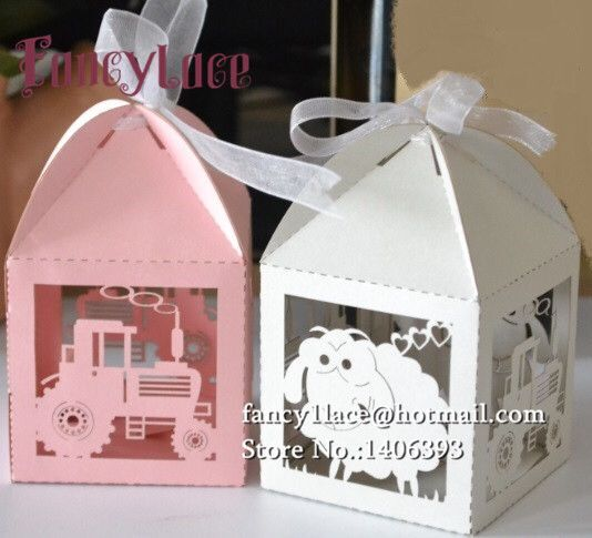 Candy-Boxes Wedding-Gift-Box Laser-Cut Party-Decoration Shaun Sheep Baby Shower 50pcs title=