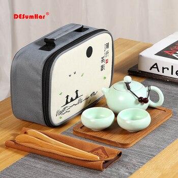 중국어 여행 쿵푸 차 세트 1pot 4 컵, 휴대용 주전자 도자기 가이완 차 컵 차 의식 차 주전자 여행 가방