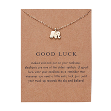 Ailodo Make a Wish Lucky Elephant Gift Card Necklace Gold Color Chain Women Girls Fashion Jewelry Birthday LD240