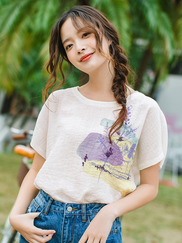 INMAN 2020 Summer New Arrival Round Collar Batwing Sleeve Printed Loose All-match Leisure Blouse