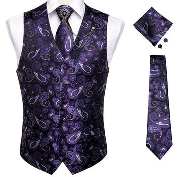 New Teal Green Paisley 100% Silk Formal Dress Vest Men Waistcoat Vest Wedding Party Vest Tie Brooch Pocket Square Set DiBanGu 21