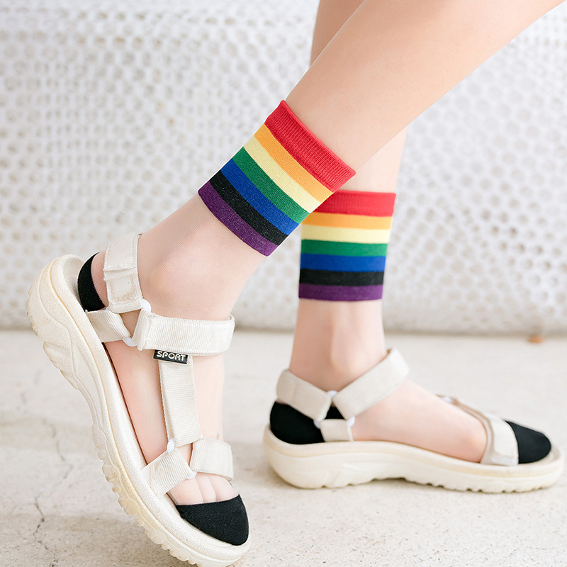 Women Socks 2020 Spring Colors Striped Women Fashion Long Socks Women Breathable Transparent Korea Style Women's Fashion Sock