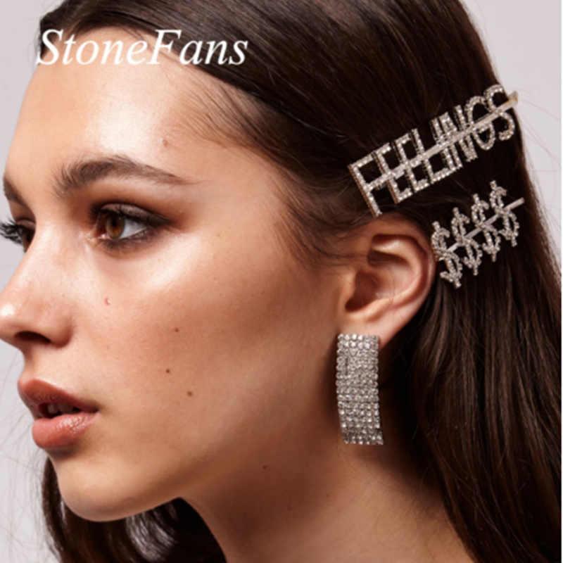 Barrettes Strass Accessoires Cheveux Pinces Épingles Lettres Brillants