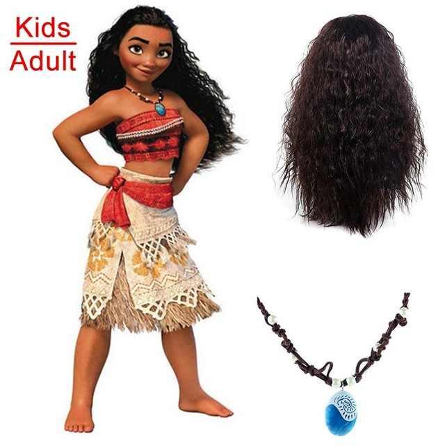 Adulto Crianças Princesa Vaiana Moana Traje Vestidos com Colar Peruca Mulheres Meninas Festa de Halloween Moana Vestido Trajes Cosplay