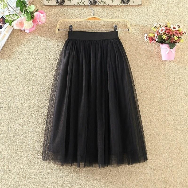 Network Mesh Dress Skirt Medium-length Dress All Seasons Korean-style Mesh Dress Big Hemline A- Line Skirt Tutu Fairy Skirt