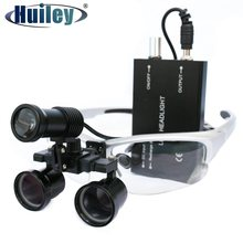 Loupe avec phare LED Loupes dentaires chirurgicales Zoom 2,5x à 3,5x dents chirurgicales lunettes binoculaires illuminées