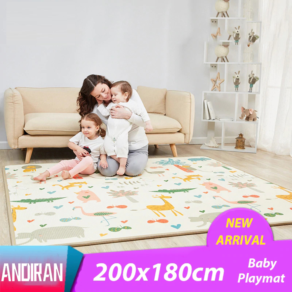 2 Thickness Baby Play Mat 200*180cm Large Baby Climbing Mat Eco-friendly EPE Carpet Rug Bedroom Blanket