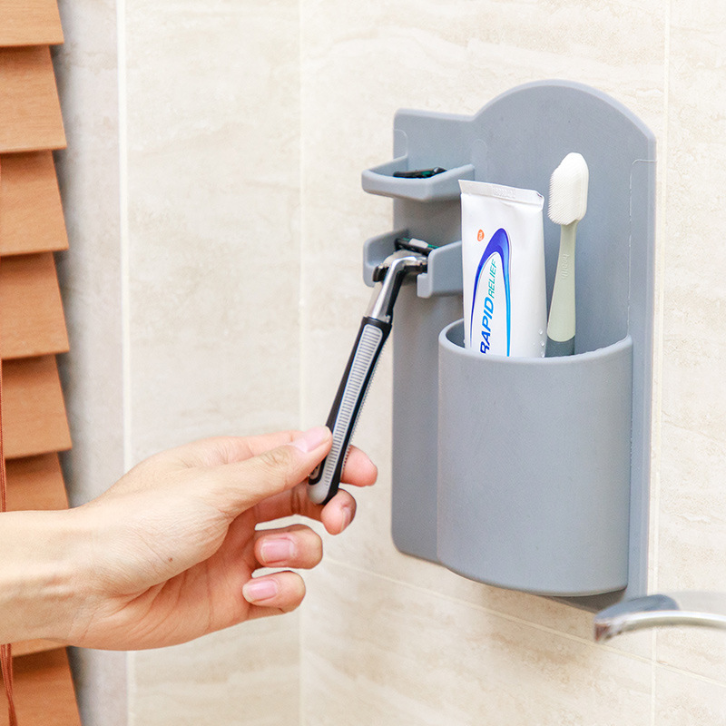 Wall-mounted Toothbrush Holder Silicone Razor Holder Bathroom Accessories Storage Box Organizer Suction Cup No Glue Required