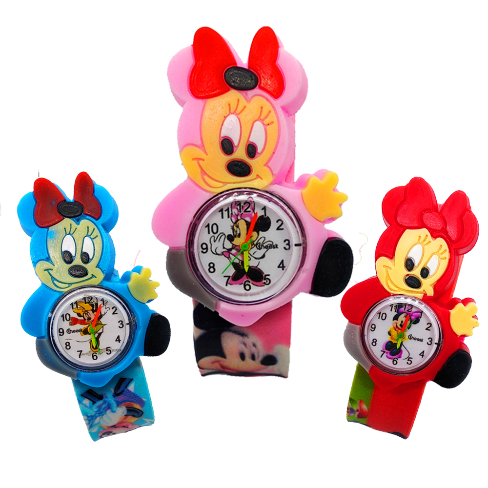 Fashion Girls Watches Kids Wristband Gift Pink Cartoon Mickey Minnie Girl Watch Kid Clock Colorful Rubber Children Watch Gifts