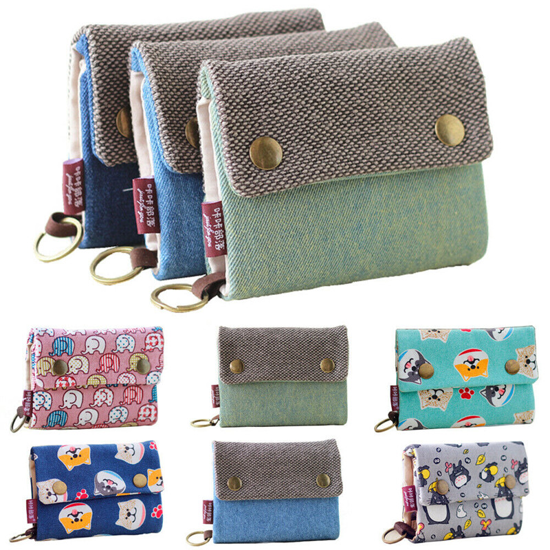 New Wallets 2020 Lady Short Coin Pouch Women's New Cotton Wallets Unique Style Canvas Folding Girl Small Card Holder Money Purse