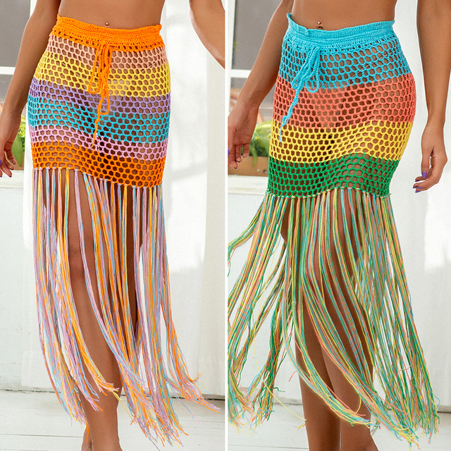 Women's Beach Cover-up Fashion Tunic bandage Bathing Suits Crocheted Rainbow Print Hollow Out Fringe bikini Skirt Dress 1