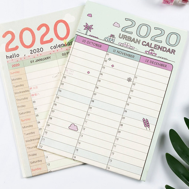 1Pcs 2020 Year Wall Calendar 365 Days Learning Schedule Periodic Planner Year Memo Agenda Organizer Office Supplies