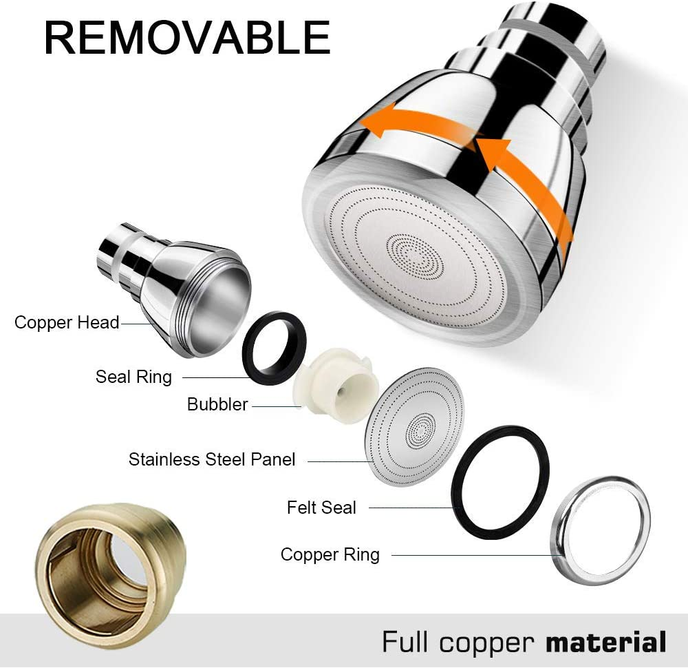 Swivel Kitchen Sink Faucet Aerator Solid Copper High-Pressure Faucet Spray Head  Leak-Proof Super Nozzle Filter Adapter 2