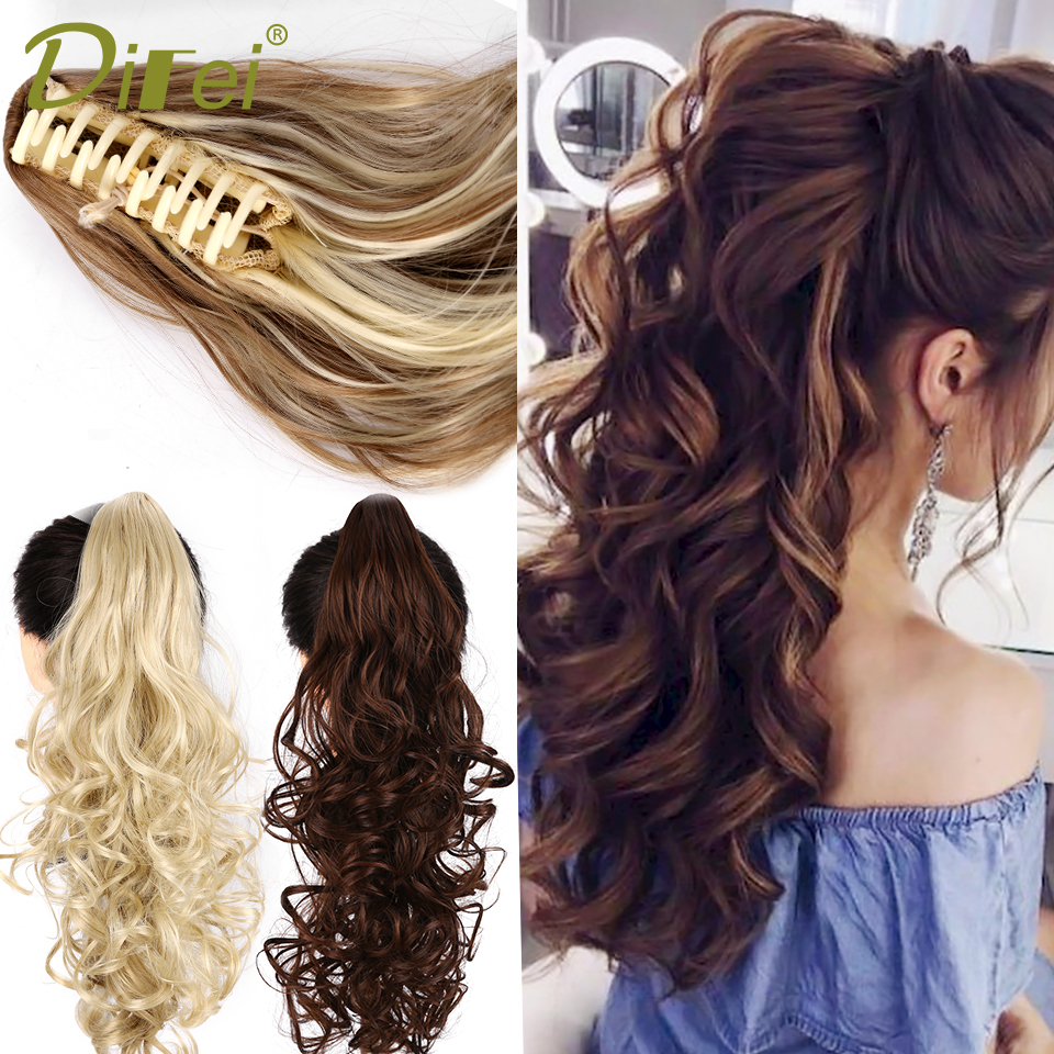 ALI shop ...  ... 32887242836 ... 4 ... DIFEI Synthetic Women Claw on Ponytail Clip in Hair Extensions Wavy Curly Style Pony Tail Hairpiece Black Brown Blonde Hairstyle ...