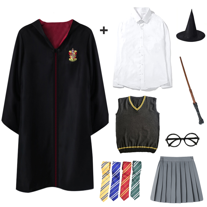 Adult Kids Gryffindor Cloak Cosplay Potter Costumes Shirt Ravenclaw Slytherin Robe Potter Costume Hermione School Uniform