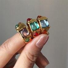 AOMU 2020 nuevo francés barroco Retro de cristal colorido del Rhinestone hueco círculo de Metal de anillos de oro para las mujeres joyería de fiesta de regalos