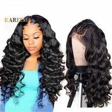 Karizma 13*4 緩いウェーブレースフロント人間の髪は女性のため事前摘み取らブラジルの Remy 毛かつら漂白ノット