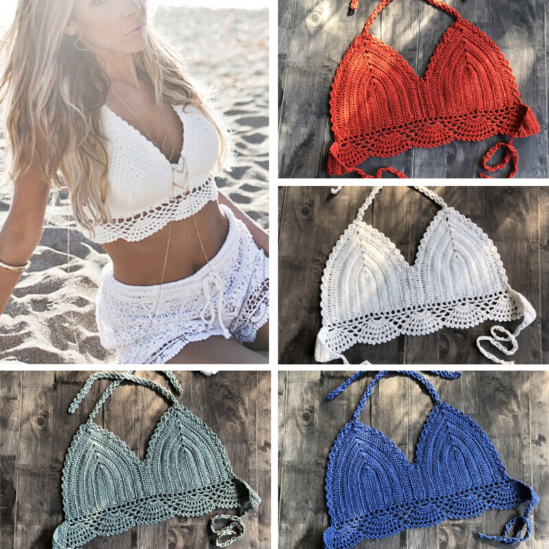 2019 New Bikini Top Handmade Crochet Women Boho Beach Bralette Solid Halter Knitted Swimsuit Brazilian Bikinis Bathing Suit Top