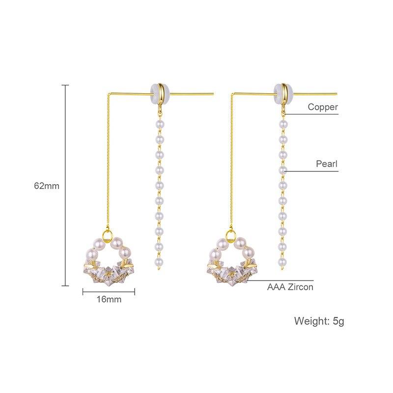 Hongye 2020 New Multi-Pearl Drop Earrings for Women Fashion Gold Silver Color Metal Girls AAA Zircon Party Brincos Fine Jewelry