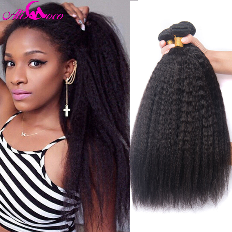 Ali Coco Kinky Straight Brazilian Human Hair Bundles 3/4 Bundles Coarse Yaki Non-Remy Hair Extensions 8-28 Inch Natural Color