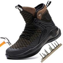 Holfredterse niezniszczalne zimowe gorące męskie ochronne buty robocze stalowa nasadka na palec odporne na przebicie buty lekkie wysokie góry 1688-FZ-66 tanie tanio Pracy i bezpieczeństwa CN (pochodzenie) Połowy łydki Plecionka Dla dorosłych Skóra Split Okrągły nosek RUBBER Zima