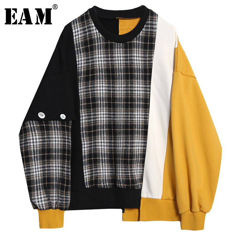 [EAM] Loose Fit Black Plaid Irregular Sweatshirt New Round Neck Long Sleeve Women Big Size Fashion Tide Spring Autumn 2020 1Y233 1