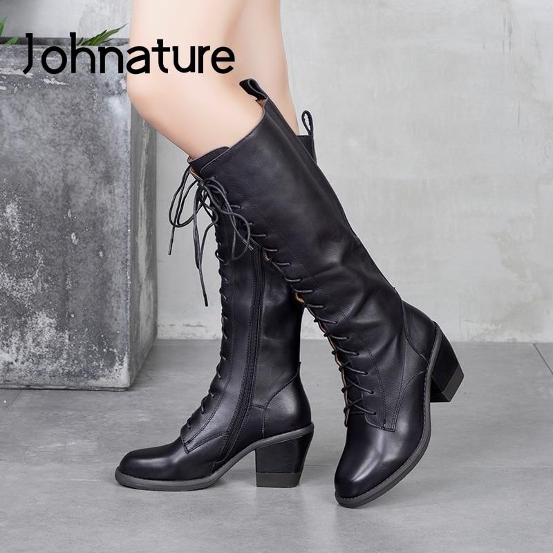 Johnature Women Boots Genuine Leather Lace-up Round Toe Women Shoes 2021 New Autumn Winter Zipper Handmade Platform Boots