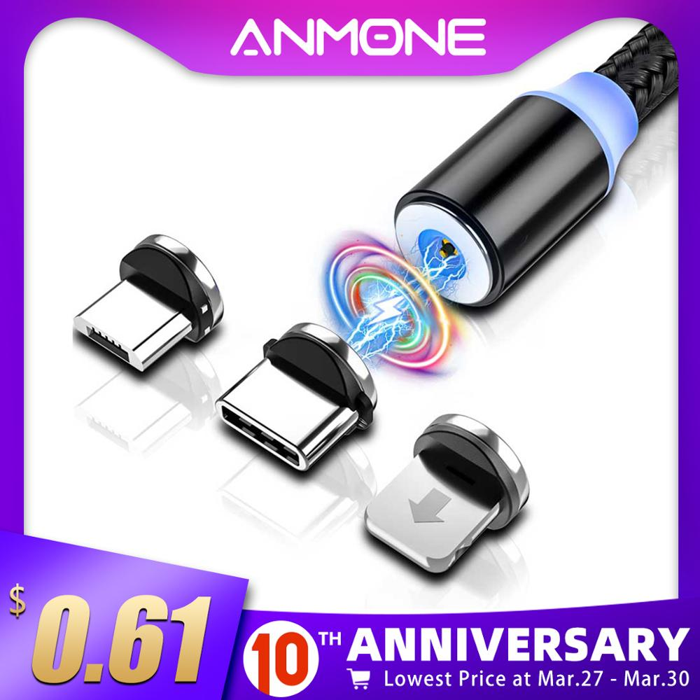 ANMONE Magnetic Micro USB Type C Cable Magnetic Charge For xiaomi redmi note 7 Android for Umidigi F2 Fast Charging Charger Cord