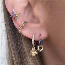 Minimal rainbow cz hoop huggie earring floating round circle charm trendy fashion women 2019summer gold filled gorgeous jewelry(China)