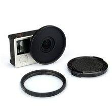 Filtro de lente UV 52mm + anillo adaptador de aleación + Protector de tapa de lente para Gopro Hero 3 3 + 4 accesorios Set