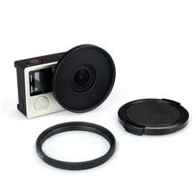 Filtro de lente uv 52mm + liga adaptador anel tampa da lente protetor para gopro hero 3 + 4 acessórios conjunto