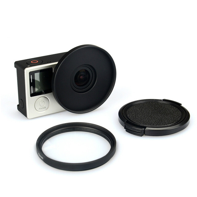 Uv Lens Filter 52Mm + Legering Adapter Ring + Lensdop Protector Voor Gopro Hero 3 3 + 4 accessoires Set