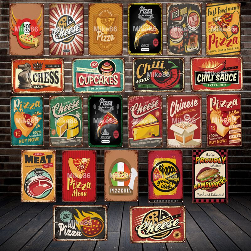 [ Mike86 ] Pizza Cheese CHILI SAUCE Metal Sign Vintage Store Retro Iron Painting Poster Art 20*30 CM LT-1902 image