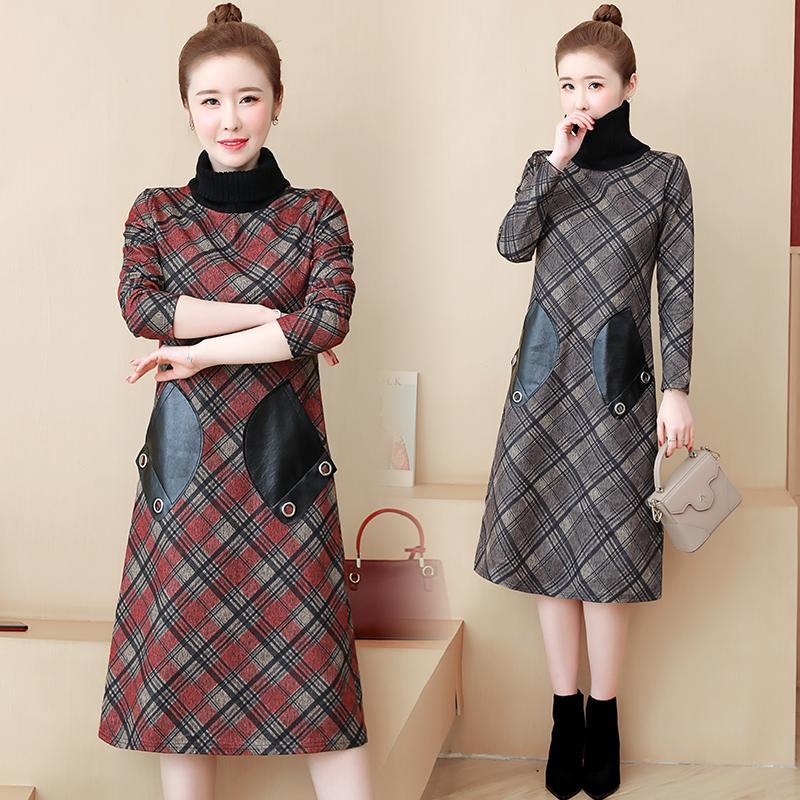 4XL 5XL Autumn Large Size Women Woolen Dress Winter Plaid Print PU Leather Pocket Dress Casual Plus Size Turtleneck Woolen Dress