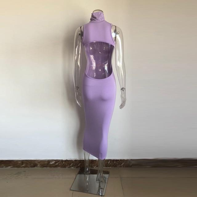 KGFIGU Vestidos De Verano 2021 Summer Blue Maxi Long Dress Solid High Turtleneck Bodycon Outfits Woman Backless Party Clubwear 6