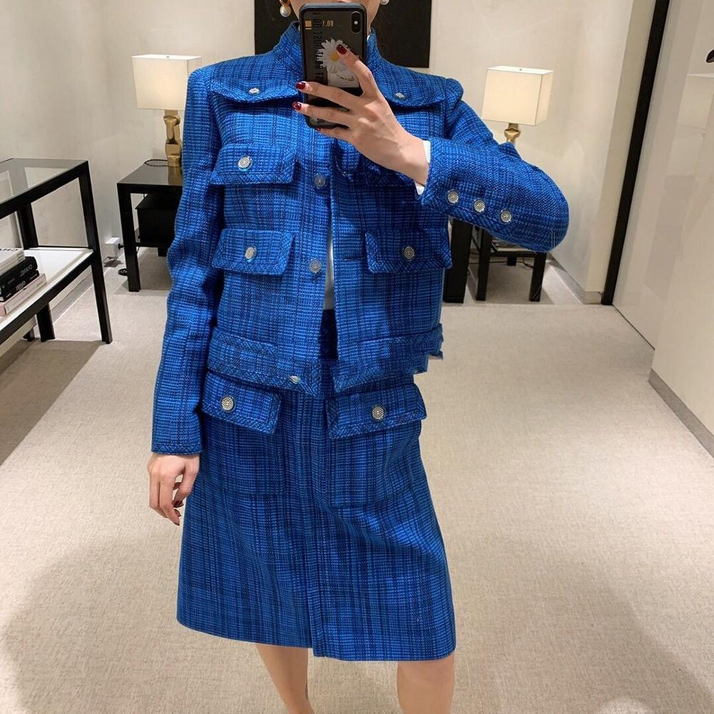 Fashion 2020 Runway Design Women Tweed Suits Pockets Long Sleeves Silk Lining Single Breasted Jackets + Mini A-Line Slim Skirt