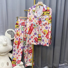 21 spring and autumn new style satin chiffon trousers long-sleeved pajamas two-piece foreign trade home service suit