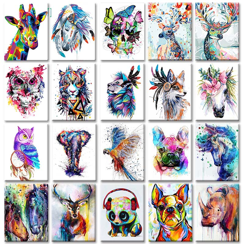 GATYZTORY DIY Painting By Numbers Figure HandPainted Oil Painting Animals Canvas Drawing Home Decor Gift