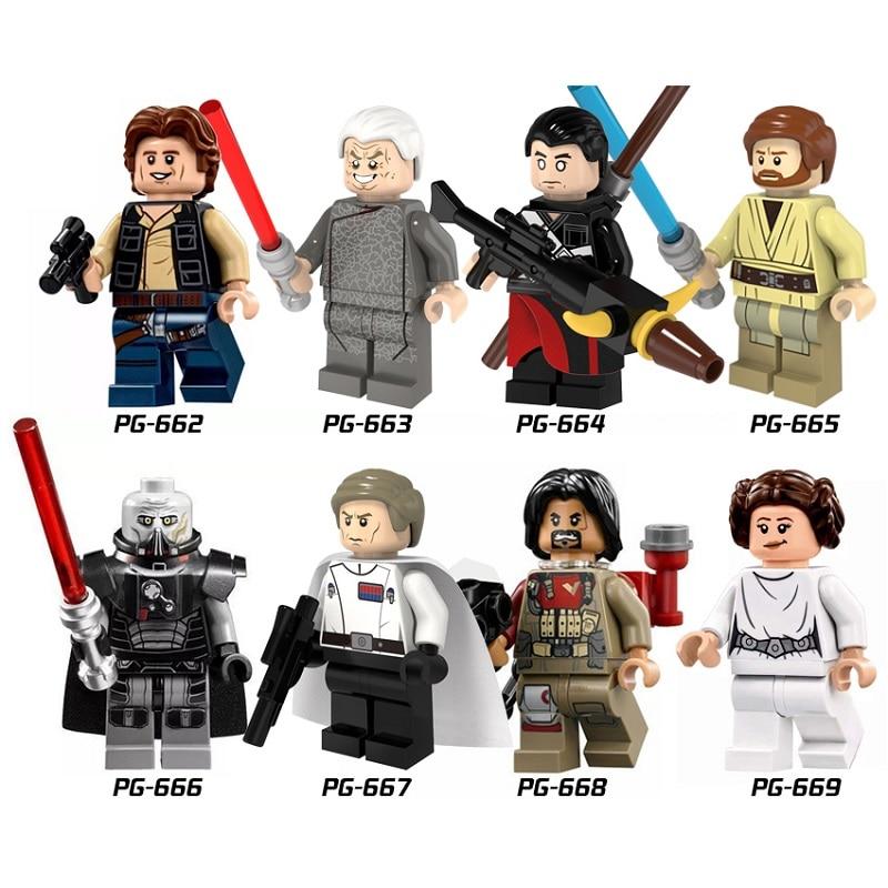 Star Wars Han Solo Palpatine Chirrut Imwe Obiwan SithLor Baze Malbus Mini Building Blocks Figure Legoingly Bricks Toys Kids Gift