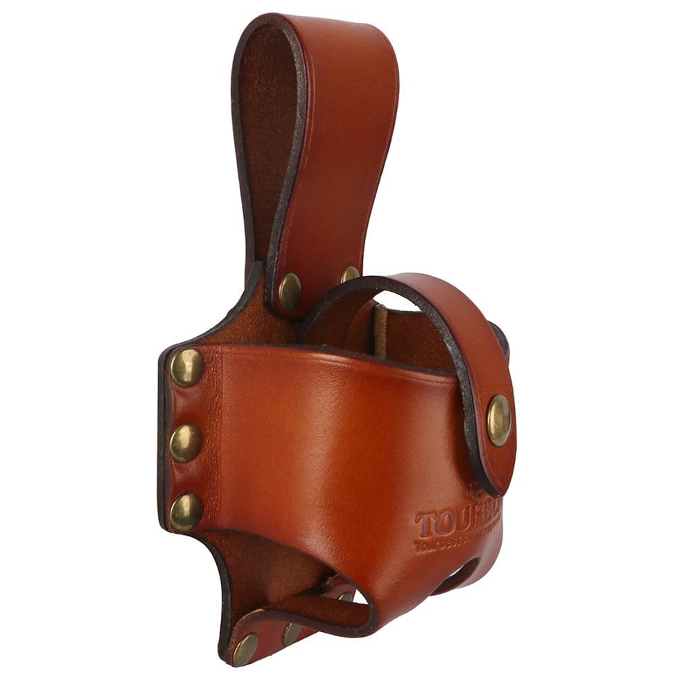 "TOURBON Vintage 3mm Brown Leather Tape Measure Holder Low Profile fits 2/"" Belt"