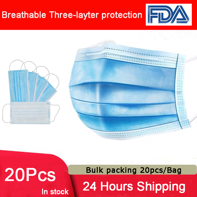 20 pcs/Bags Disposable mask 3-Layer Non-woven Disposable Face Mask Prevent Dust Mask