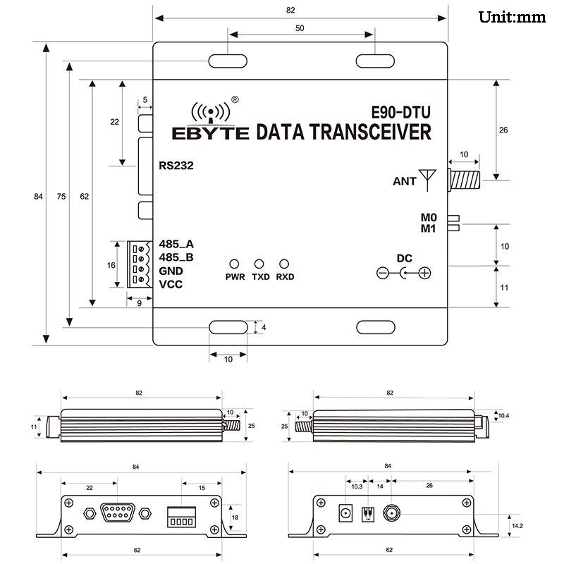 5 км радиомодем беспроводной приемопередатчик данных LoRa шлюз 868/915 МГц RS485/RS232 Modbus приемник/передатчик для интеллектуального сельского хозяй...