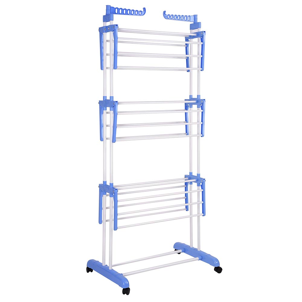 Practical 3-layer  Folding Airer Portable Practical Clothes Dryer Indoor Outdoor Drier Large Airer Blue Household Drying Rack