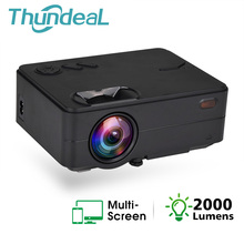 Thundal جهاز عرض صغير 2000 التجويف ل 1080P فيديو LED واي فاي اللاسلكية مزامنة عرض الهاتف متعاطي المخدرات التلفزيون ثلاثية الأبعاد فيلم العارض السينما المنزلية
