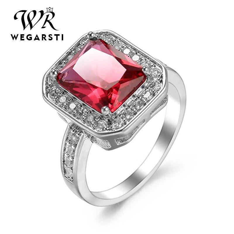 WEGARSTI Silver 925 Jewelry Emerald Ruby Ring Green Gemstones Silver 925 Women's Trendy Rings Party Engagement Ring Fine Jewelry
