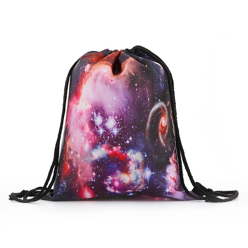 Backpack  New Fashion Women Mini Drawstring Starry Sky Backpack 3D Printing Travel Softback Bags Men Mochila Drawstring Bag Girs